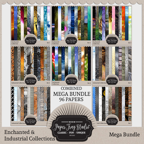 Enchanted Collection & Industrial Collection Mega Bundle Digital Art - Digital Scrapbooking Kits