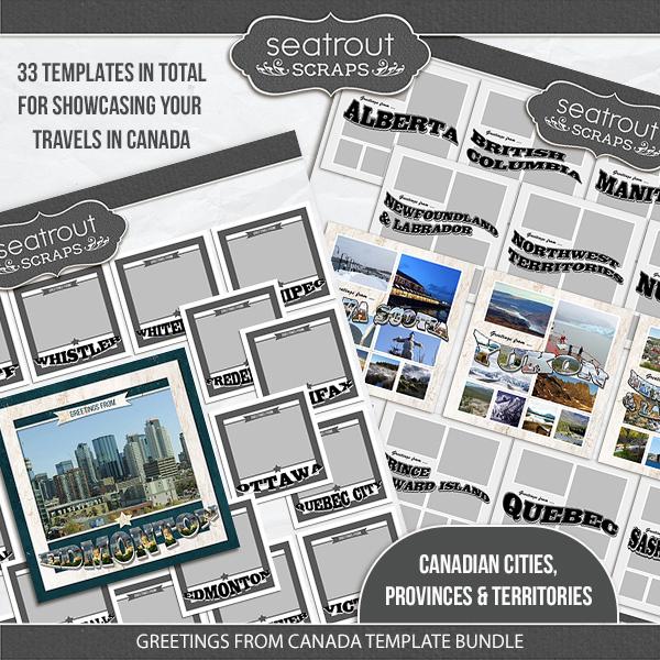 Greetings From Canada Template Bundle Digital Art - Digital Scrapbooking Kits