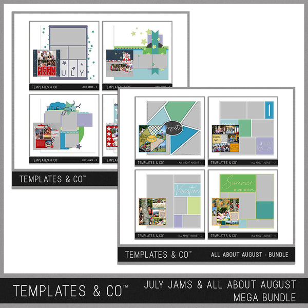July Jams And All About August Mega Bundle Digital Art - Digital Scrapbooking Kits