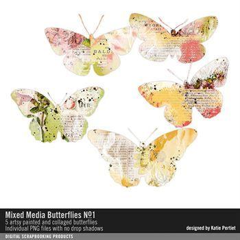 Mixed Media Butterflies No. 01 Digital Art - Digital Scrapbooking Kits