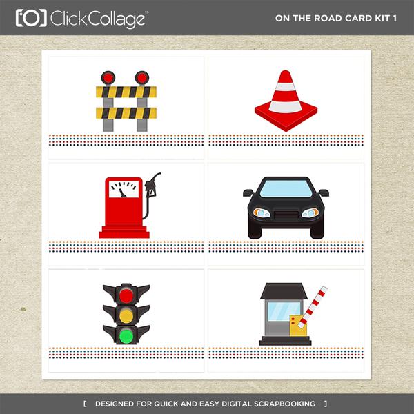On The Road Card Kit 1 Digital Art - Digital Scrapbooking Kits