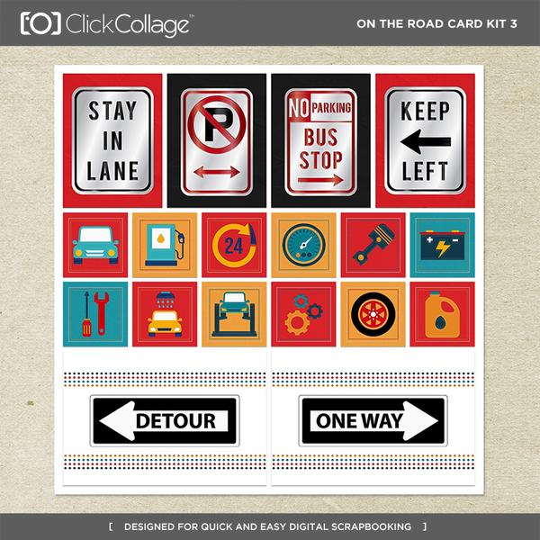 On The Road Card Kit 3 Digital Art - Digital Scrapbooking Kits