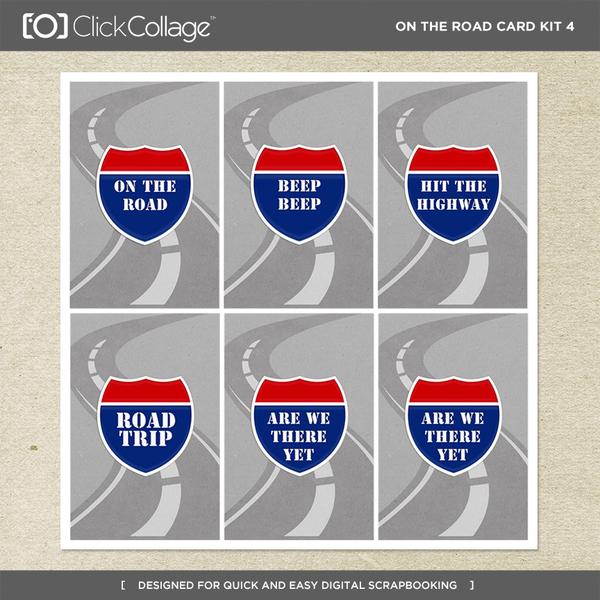 On The Road Card Kit 4 Digital Art - Digital Scrapbooking Kits