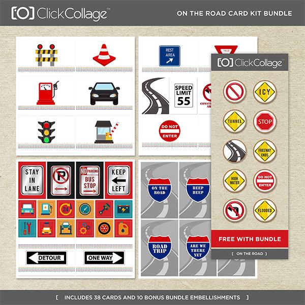 On The Road Card Kit Bundle Digital Art - Digital Scrapbooking Kits
