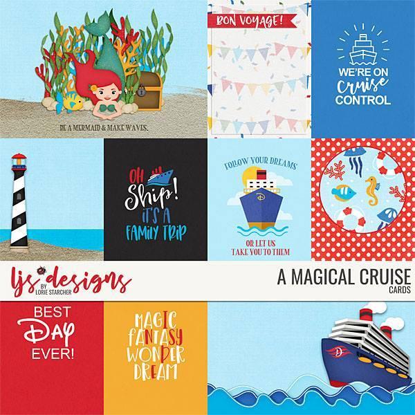 A Magical Cruise Cards Digital Art - Digital Scrapbooking Kits