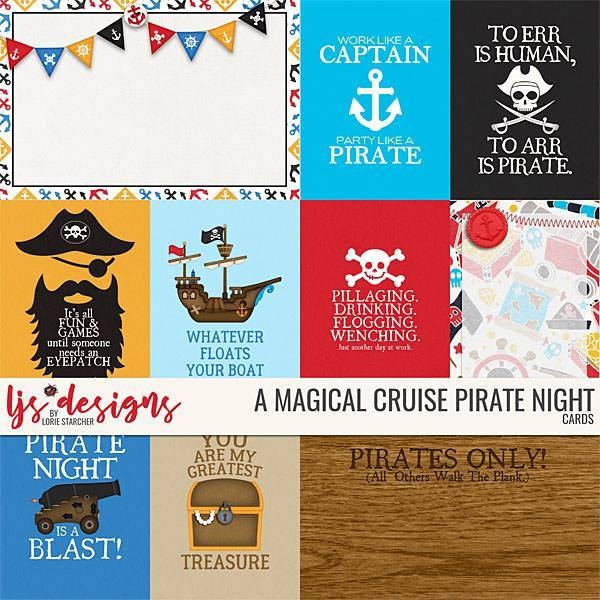 A Magical Cruise Pirate Night Cards Digital Art - Digital Scrapbooking Kits