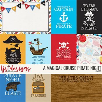 A Magical Cruise Pirate Night Cards Digital Art - Digital Scrapbooking Kits