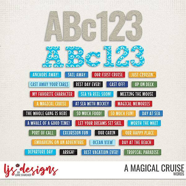 A Magical Cruise Words Digital Art - Digital Scrapbooking Kits