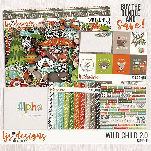 Wild Child 2.0 Bundle Digital Art - Digital Scrapbooking Kits