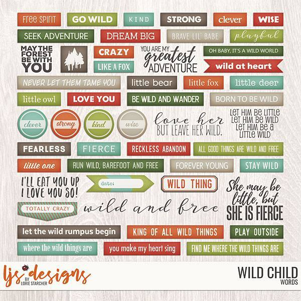 Wild Child 2.0 Words Digital Art - Digital Scrapbooking Kits