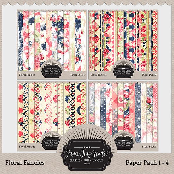 Floral Fancies - Sets 1-4 Digital Art - Digital Scrapbooking Kits