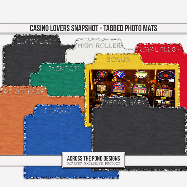 Casino Lovers Snapshot - Tabbed Photo Mats Digital Art - Digital Scrapbooking Kits