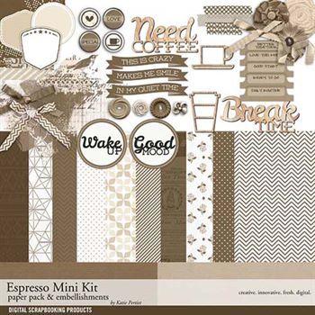 Espresso Mini Kit Digital Art - Digital Scrapbooking Kits