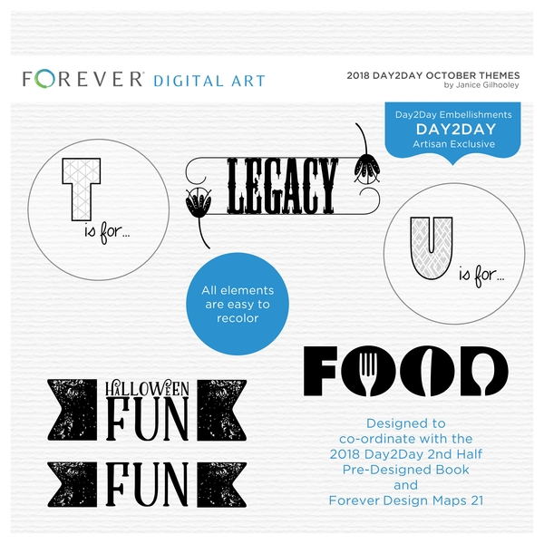 2018 Day2day October Themes Digital Art - Digital Scrapbooking Kits