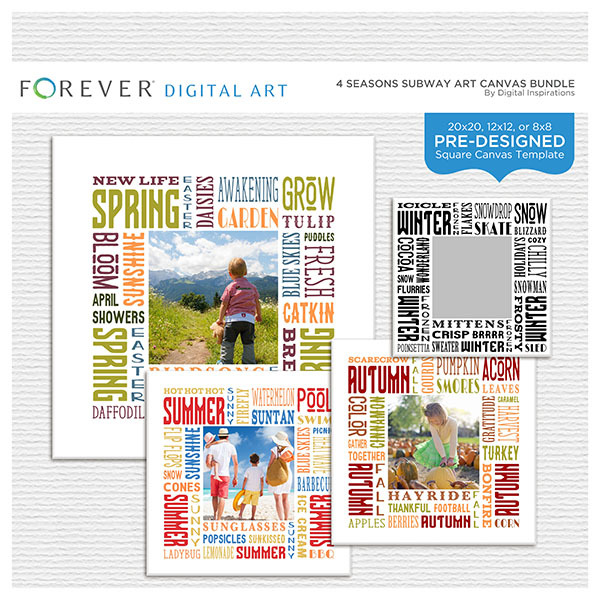 4 Seasons Subway Art Canvas Bundle Digital Art - Digital Scrapbooking Kits