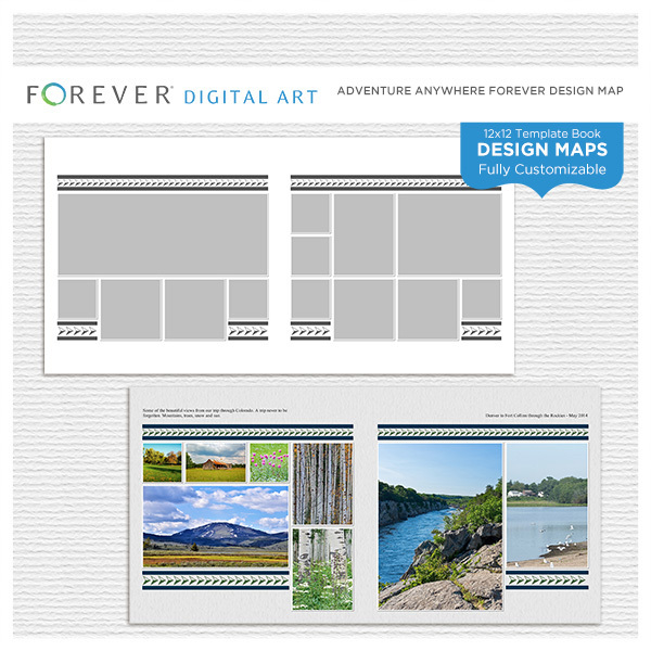 Adventure Anywhere Design Map 12x12 Digital Art - Digital Scrapbooking Kits