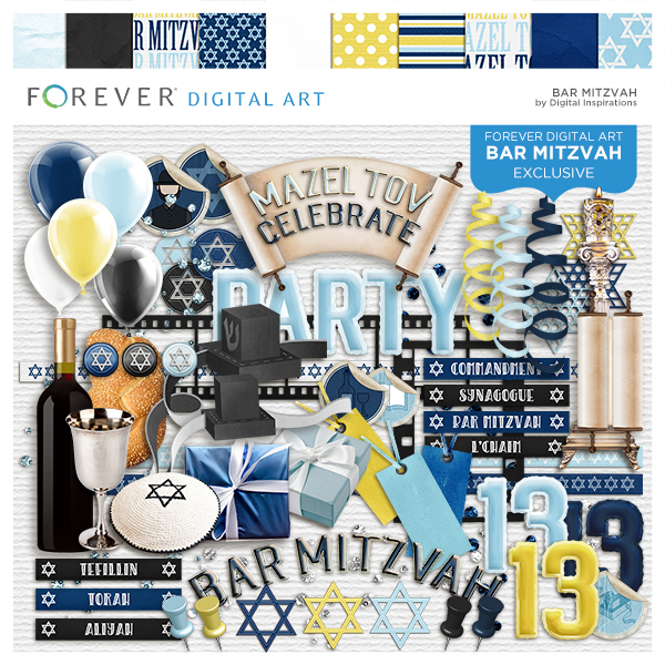 Bar Mitzvah Digital Art - Digital Scrapbooking Kits
