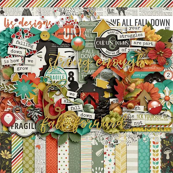 We All Fall Down Digital Art - Digital Scrapbooking Kits