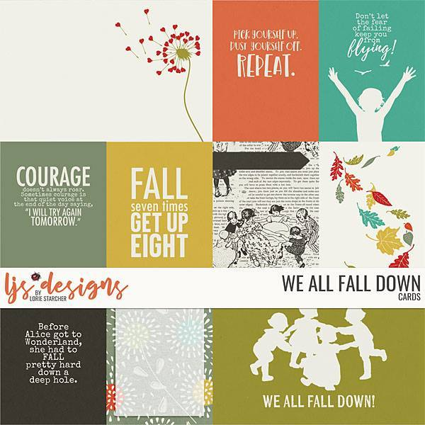 We All Fall Down Cards Digital Art - Digital Scrapbooking Kits