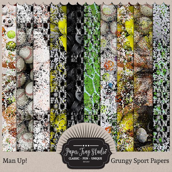 Man Up Collection - Grungy Sports Digital Art - Digital Scrapbooking Kits