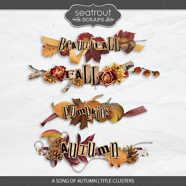 A Song Of Autumn - Stitched Title Clusters Digital Art - Digital Scrapbooking Kits