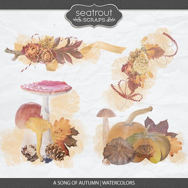 A Song Of Autumn - Watercolors Digital Art - Digital Scrapbooking Kits