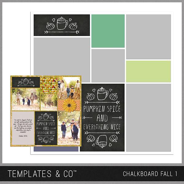 Chalkboard Fall 1 Digital Art - Digital Scrapbooking Kits