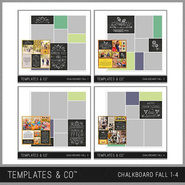 Chalkboard Fall 1- 4 Digital Art - Digital Scrapbooking Kits