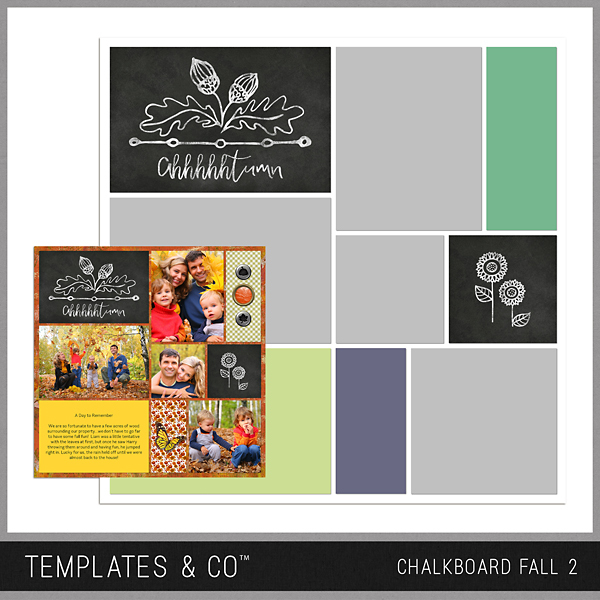 Chalkboard Fall 2 Digital Art - Digital Scrapbooking Kits