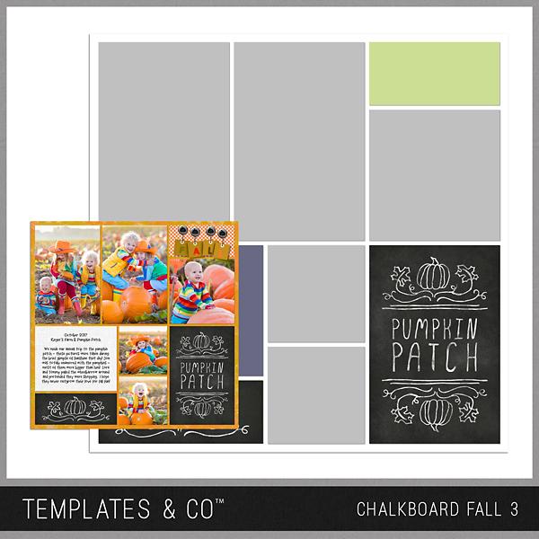 Chalkboard Fall 3 Digital Art - Digital Scrapbooking Kits