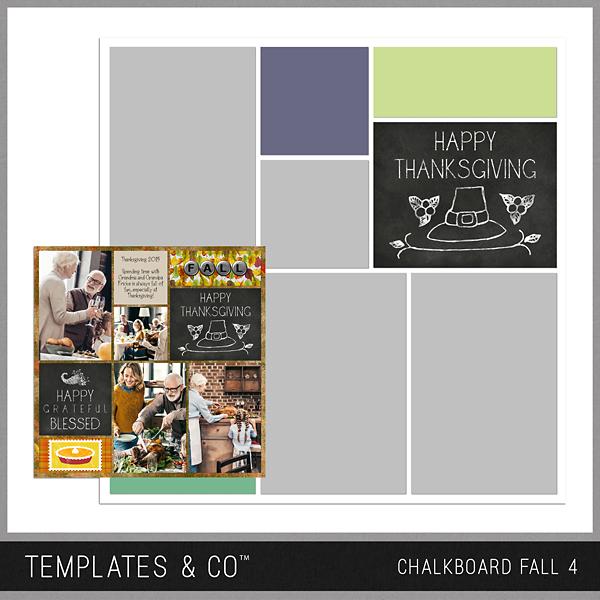 Chalkboard Fall 4 Digital Art - Digital Scrapbooking Kits