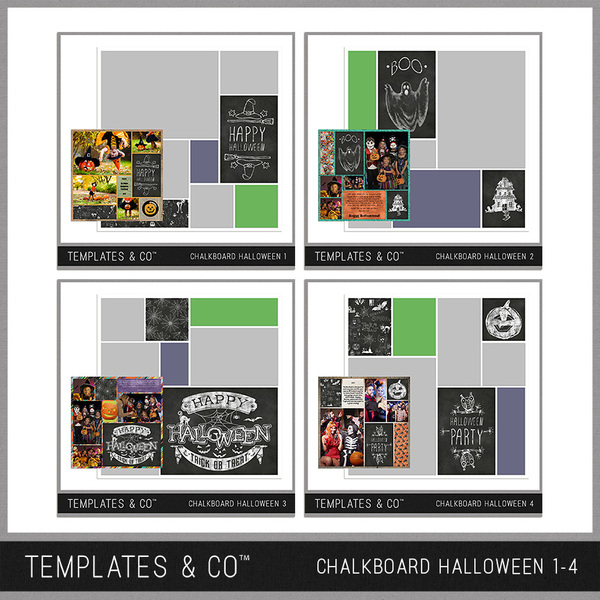 Chalkboard Halloween 1 - 4 Digital Art - Digital Scrapbooking Kits
