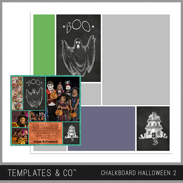 Chalkboard Halloween 2 Digital Art - Digital Scrapbooking Kits