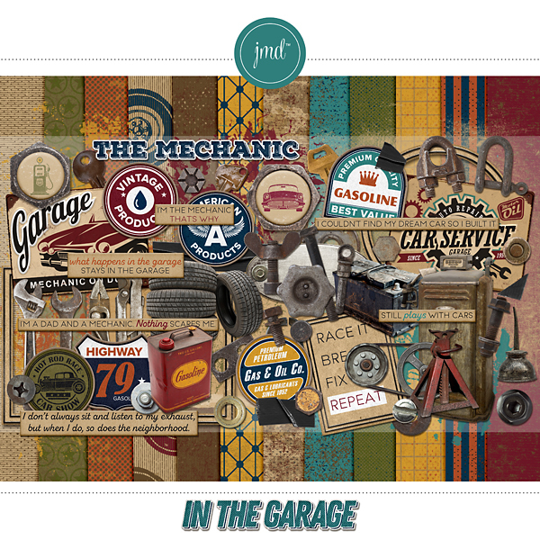 In The Garage Digital Art - Digital Scrapbooking Kits
