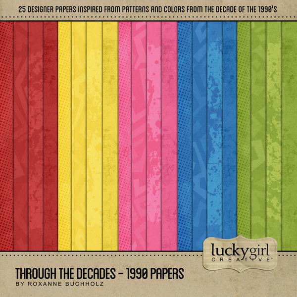 Through The Decades - 1990 Papers Digital Art - Digital Scrapbooking Kits