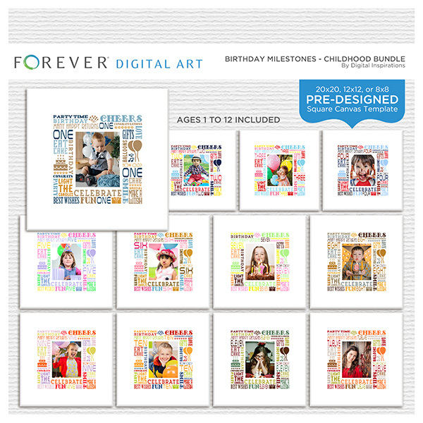 Birthday Milestones - Childhood Bundle Digital Art - Digital Scrapbooking Kits