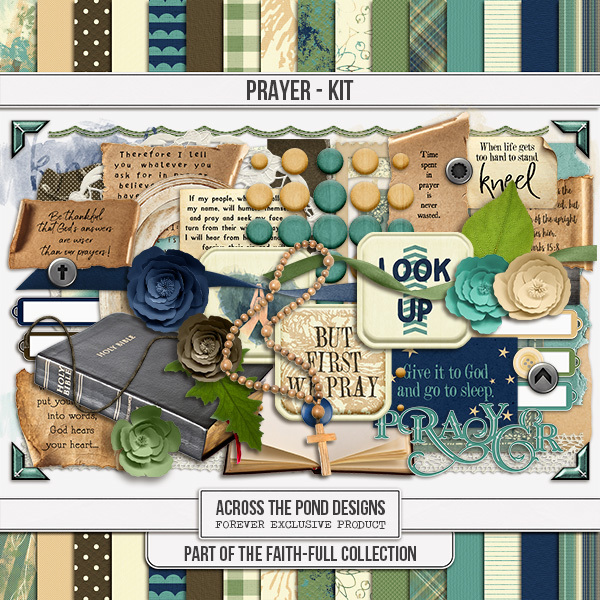 Faithfull Series - Prayer Page Kit Digital Art - Digital Scrapbooking Kits