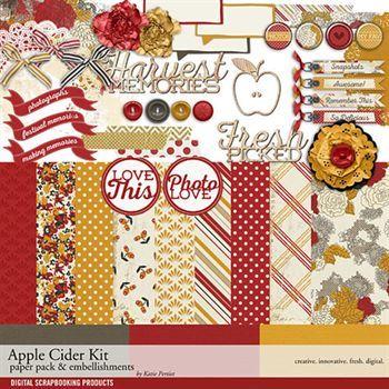 Apple Cider Mini Kit Digital Art - Digital Scrapbooking Kits