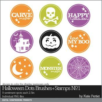Halloween Dots Brushes And Stamps No. 01 Digital Art - Digital Scrapbooking Kits