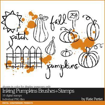 Inking Pumpkins Brushes And Stamps Digital Art - Digital Scrapbooking Kits