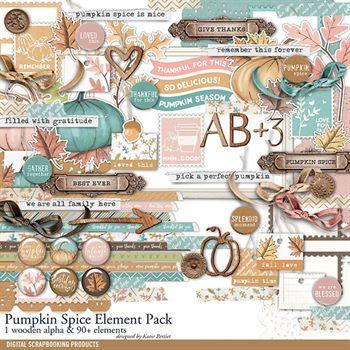Pumpkin Spice Element Pack Digital Art - Digital Scrapbooking Kits