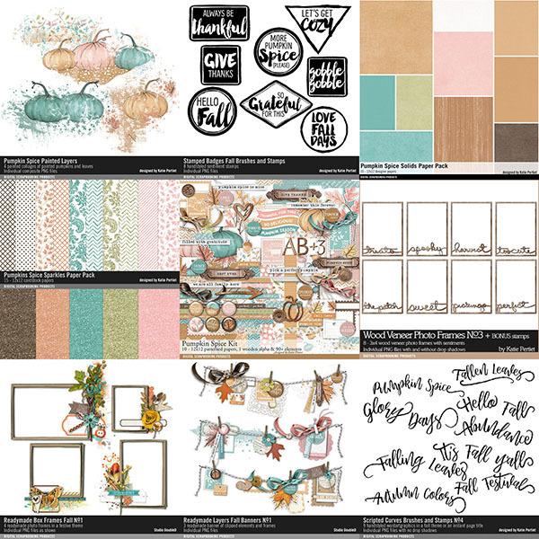 Pumpkin Spice Fall Scrapbook Bundle Digital Art - Digital Scrapbooking Kits
