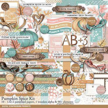 Pumpkin Spice Fall Scrapbook Kit Digital Art - Digital Scrapbooking Kits