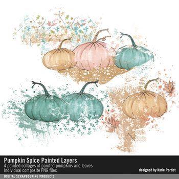 Pumpkin Spice Painted Layers Digital Art - Digital Scrapbooking Kits