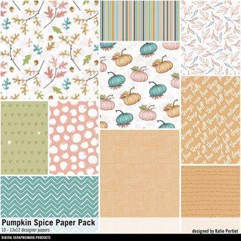 Pumpkin Spice Paper Pack Digital Art - Digital Scrapbooking Kits