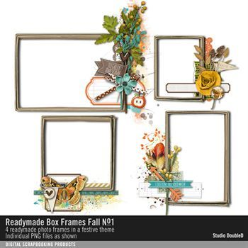 Readymade Box Frames Fall No. 01 Digital Art - Digital Scrapbooking Kits