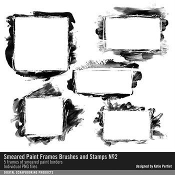 Smeared Paint Photo Frames Brushes And Stamps No. 02 Digital Art - Digital Scrapbooking Kits
