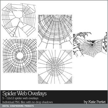 Spider Web Overlays Digital Art - Digital Scrapbooking Kits