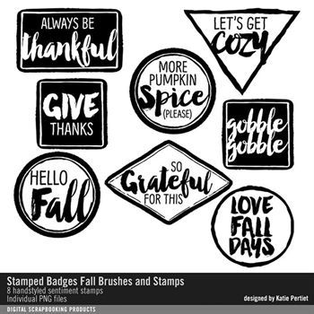 Stamped Badges Fall Brushes And Stamps No. 01 Digital Art - Digital Scrapbooking Kits