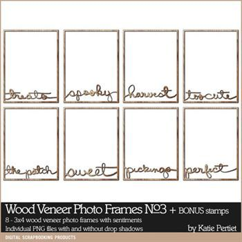 Wood Veneer Photo Frames No. 03 Digital Art - Digital Scrapbooking Kits